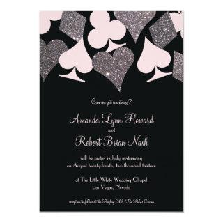 Vegas Wedding Black Pink and Silver Faux Glitter Invitation