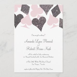 Vegas Wedding Blush Pink and Silver Faux Glitter Invitations