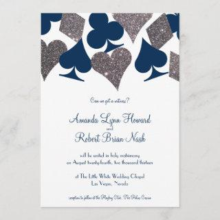 Vegas Wedding Navy Blue Silver Faux Glitter Invitation