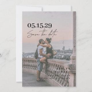 Vellum Look Hand Lettered Typography Photo Save The Date