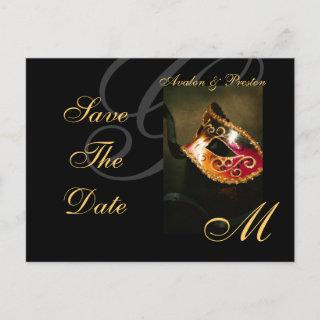 Venice Gold Masquerade Mask Save The Date Postcard