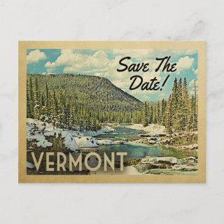 Vermont Save The Date Mountains River Snow Announcement Postcard