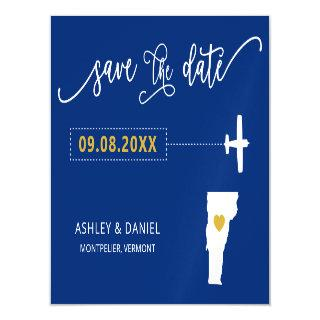 Vermont Wedding Save the Date Card, Map Magnetic Invitation