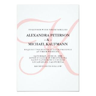 Vertical Modern Classic Monogram in Pink Wedding Invitations