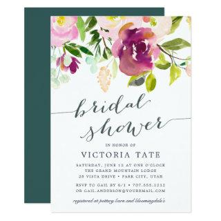 Vibrant Bloom Watercolor Bridal Shower Invitations