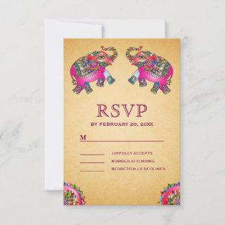 Vibrant Ethnic Elephants Indian Wedding RSVP Card