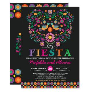 Vibrant Fiesta Couples Shower Floral Engagement Invitations