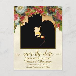 Victorian Flowers w/Photo Wedding Save the Date Announcement Postcard