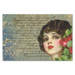 Victorian Glamour Girl w/ Red Rose Tissue Paper