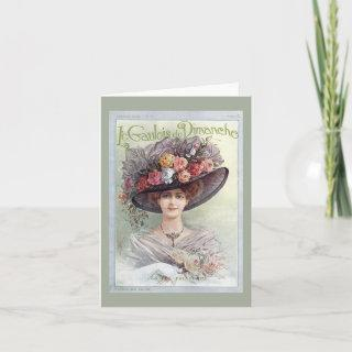 Victorian hat lady card