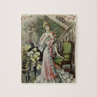 Victorian Lady – Vintage French Fashion –Red Dress Jigsaw Puzzle