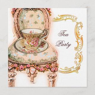 Victorian Pink Rose Tea Party Invitations