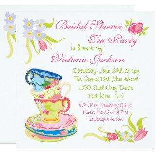 Victorian Stacked Tea Cups Tea Party Bridal Shower Invitations
