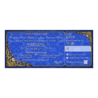 Victorian Wedding Ticket Invitation (royal blue)