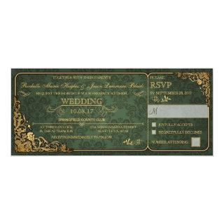 Victorian Wedding Ticket Invitation w/ RSVP