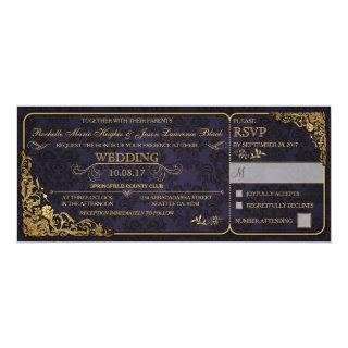 Victorian Wedding Ticket Invitations w/ RSVP