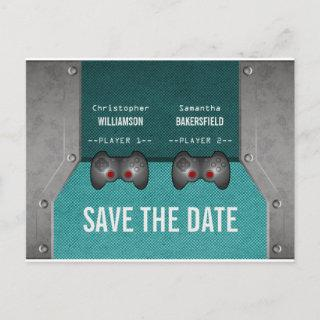 Video Game Save the Date Postcard, Teal Announcement Postcard