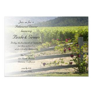 Vineyard and Rose Fence Wedding Rehearsal Dinner Invitation