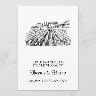 Vineyard Winery Theme Wedding Save The Date