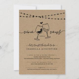 Vino Before Vows Funny Bridal Shower Invitations