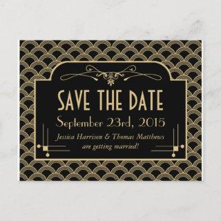 Vintage 1920's Art Deco Gatsby Wedding Collection Announcement Postcard
