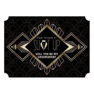 Vintage 20s Gold Black Art Deco Be My Groomsman Invitation