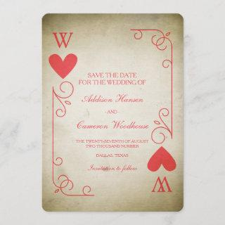 Vintage Ace of Hearts Save the Date