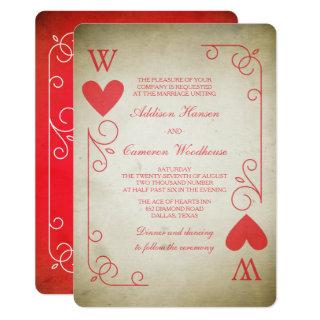 Vintage Ace of Hearts Wedding Invitations