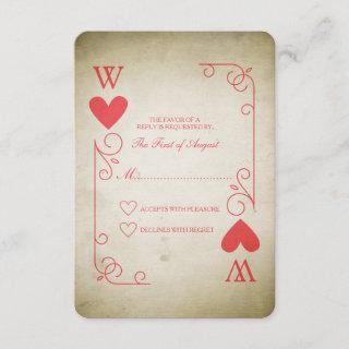 Vintage Ace of Hearts Wedding RSVP
