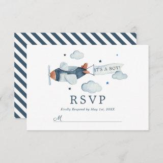 Vintage Airplane It's A Boy Baby Shower RSVP Card