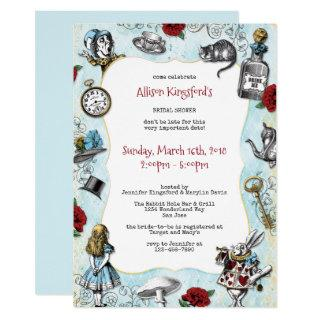 Vintage Alice in Wonderland Bridal Shower Invitations