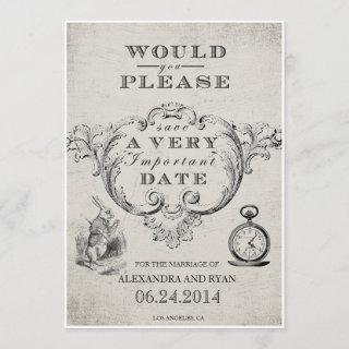 Vintage Alice in Wonderland Save the Date