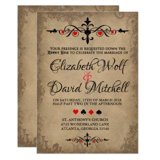 Vintage Alice in Wonderland Wedding Invitations