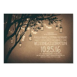 Vintage and Rustic Mason Jar String Lights Wedding Invitations