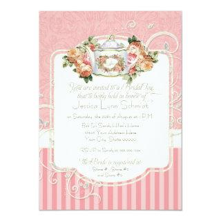 Vintage Antique Roses Floral Bouquet Modern Swirls Invitation