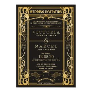 Vintage Art Deco Great Gatsby 1920s Wedding Invitations