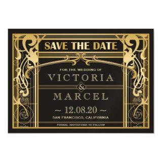 Vintage Art Deco Great Gatsby Save The Dates Magnetic Invitation