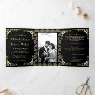 Vintage Art Deco Style Black and Gold Wedding Tri-Fold Invitations