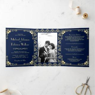 Vintage Art Deco Style Blue and Gold Wedding Tri-Fold Invitations