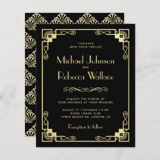 Vintage Art Deco Style Budget Wedding Invitations