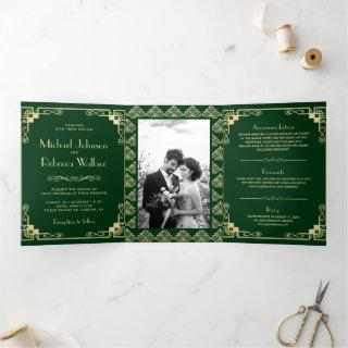 Vintage Art Deco Style Green and Gold Wedding Tri-Fold Invitation