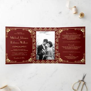 Vintage Art Deco Style Red and Gold Wedding Tri-Fold Invitations