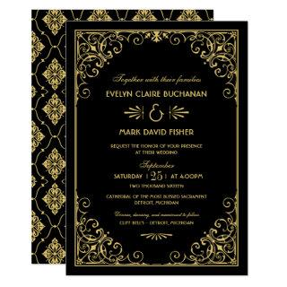 Vintage Art Deco Wedding Black and Gold Invitations