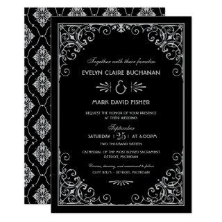 Vintage Art Deco Wedding Black and Silver Invitations