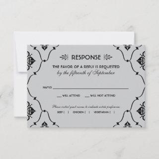 Vintage Art Deco Wedding Black and Silver RSVP Card