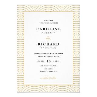 Vintage Art Deco Wedding Invitations Ivory Gold