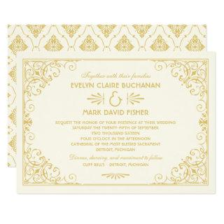 Vintage Art Deco Wedding Ivory and Gold Invitations