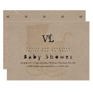 Vintage Baby Shower Invites Kraft Pram Gold