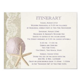 Vintage Beach Itinerary Purple Invitation
