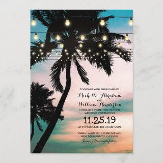 Vintage Beach Palm Tree Twinkle Lights Wedding Invitations